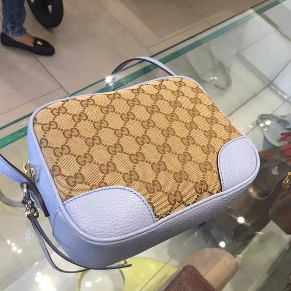 4874fa0d1 Gucci Bags | Beige Blue Canvas Leather Gg Cross Body Purse | Poshmark